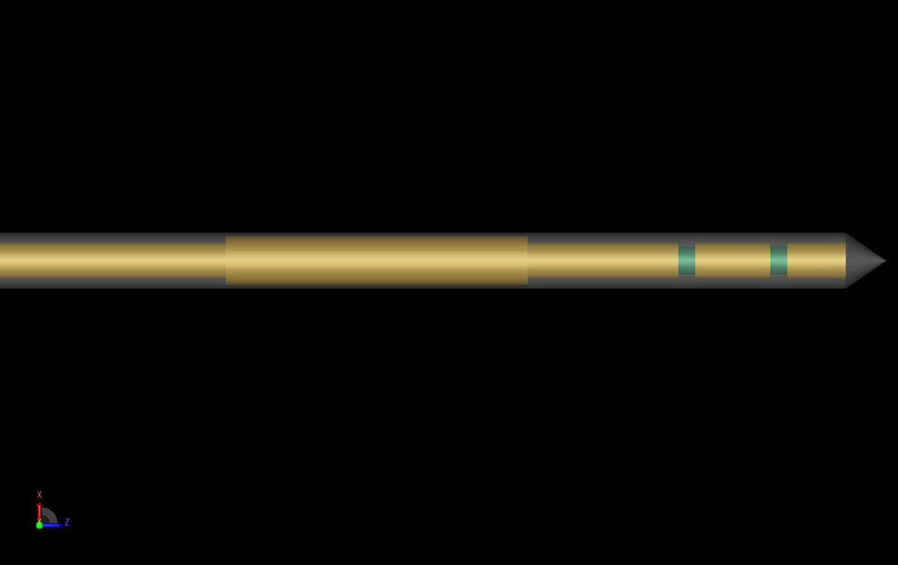 Figure 1: Shown is the CAD representation of the double slot choked antenna. The dielectric catheter is shown semi-transparent to allow viewing of the internal structure.