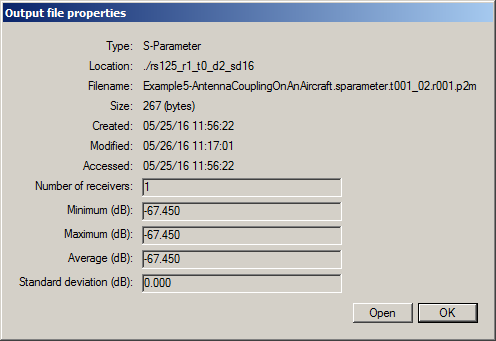 Figure 5: S-Parameter S21 – numerical value shown in the Output file properties window.
