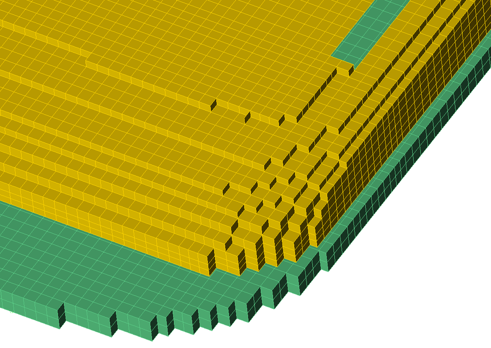 Figure 4a:  Mesh view of corner of antenna using simple rectangular mesh.