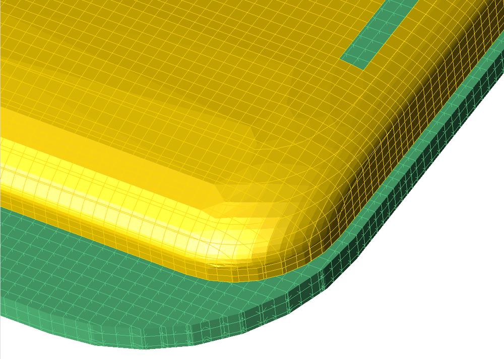 Figure 4b:  Mesh view of corner of antenna with conformal mesh.