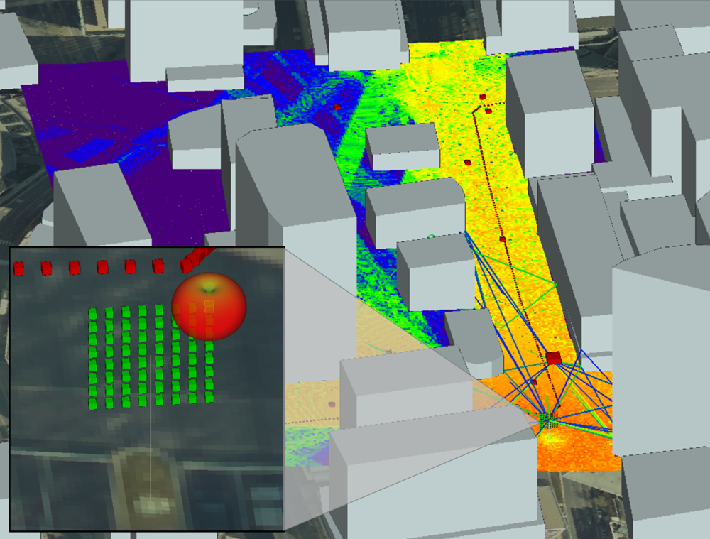 Wireless InSite simulation of a Massive MIMO base station in Rosslyn, VA