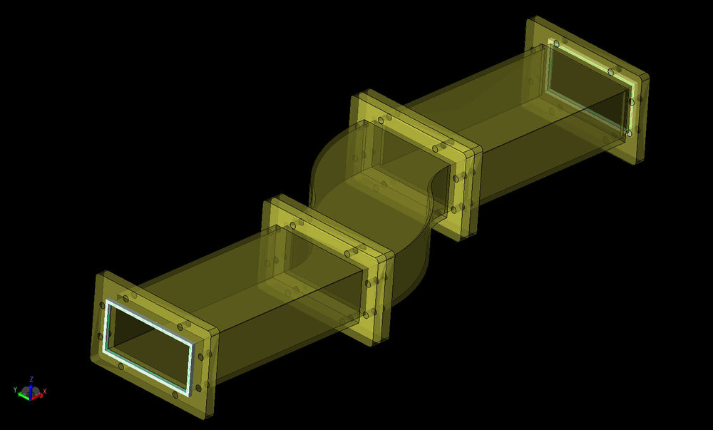 Figure 1 CAD geometry of the dual bend waveguide mode converter.