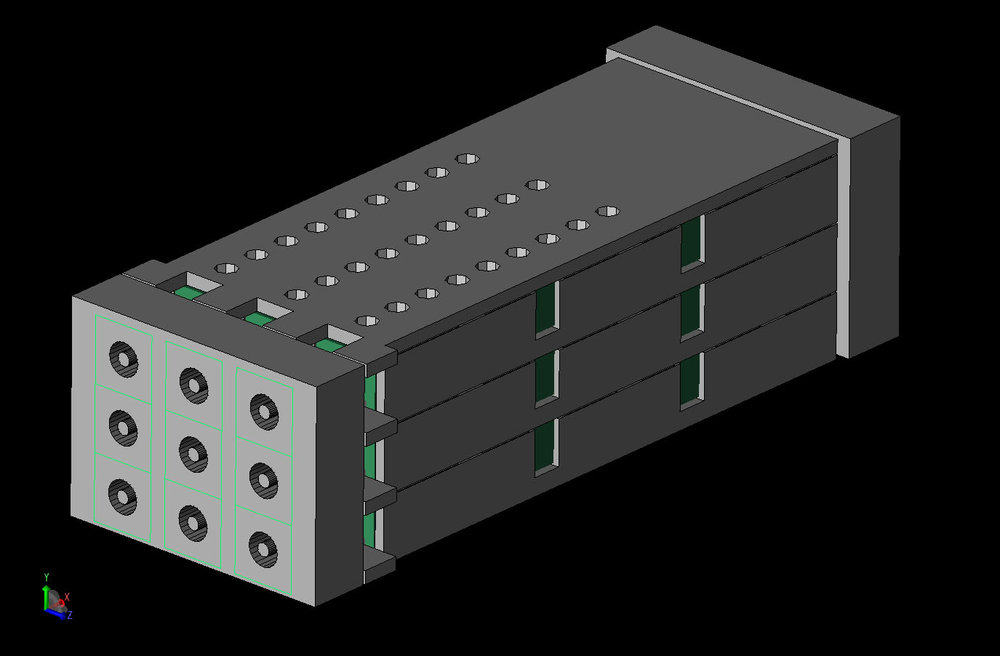 Figure 1  CAD view of the entire connector with all parts visible.