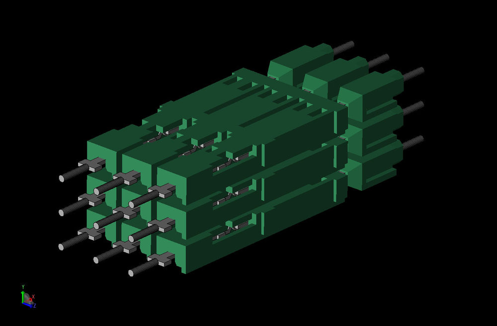 Figure 2  CAD view of the connector with the external shield removed showing the internal pins and insulation.