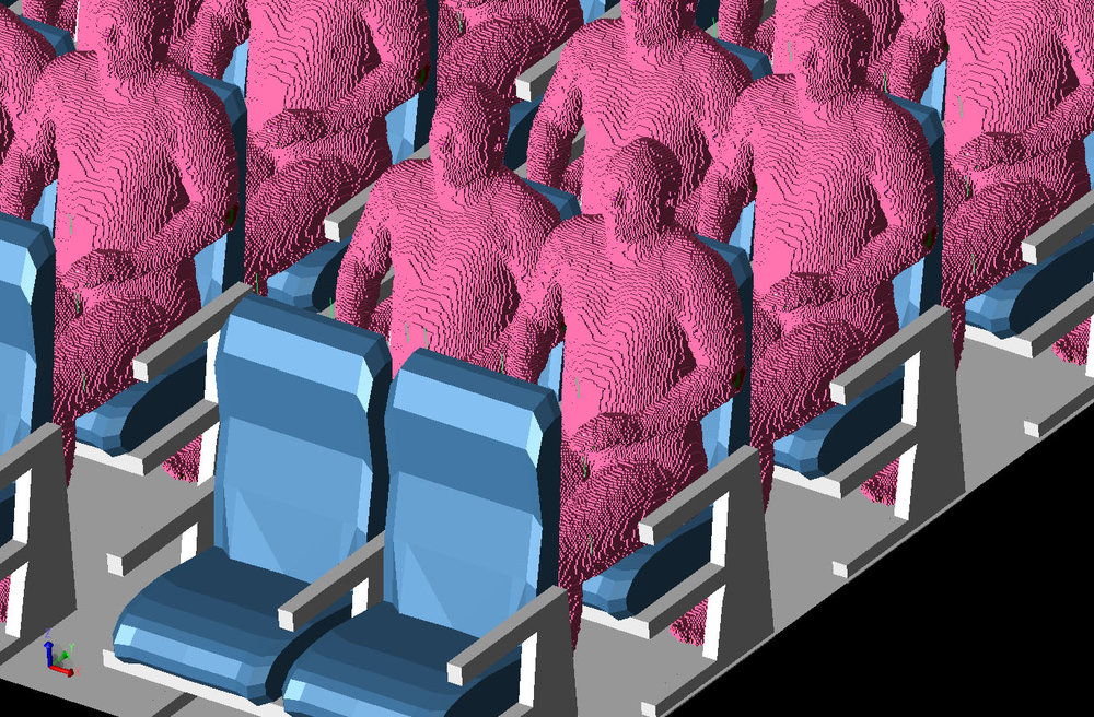 Figure 4 Three-dimensional view of the aircraft cabin with some of the positioned VariPose men in the seats. All seats in the aircraft except the first and last rows have the men seated in them.