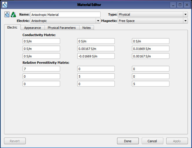 Figure 1 - The XF7 material editor with the anisotropic material defined.