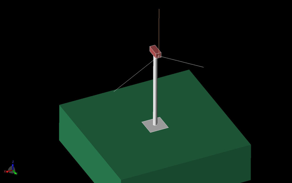 Figure 1 Three-dimensional CAD view of the wind turbine tower above a lossy ground. The tower is 60 meters high with each blade 40 meters long. The vertical axis is Z and the long axis of the nacelle is Y.
