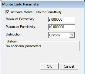 Figure 4  Monte Carlo parameter window.