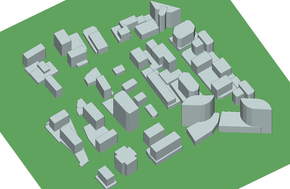 Figure 1  Rosslyn city and terrain file within the Wireless InSite GUI.