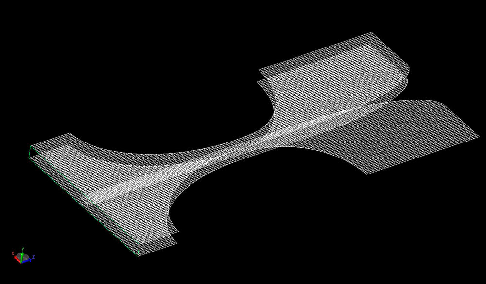 Figure 3  Mesh view of the Vivaldi antenna at a resolution of 0.5 mm.