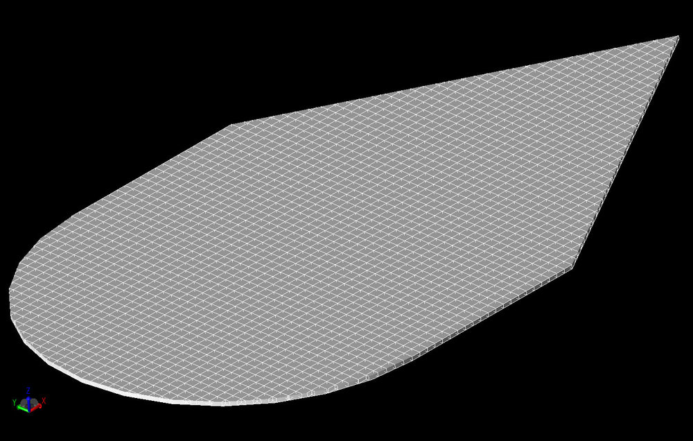 Figure 5  A three dimensional view of the Wedge Plate Cylinder geometry mesh.