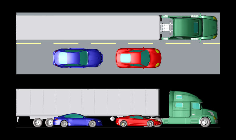 Figure 1: Setup with two passenger vehicles and one tractor trailer truck on a roadbed.