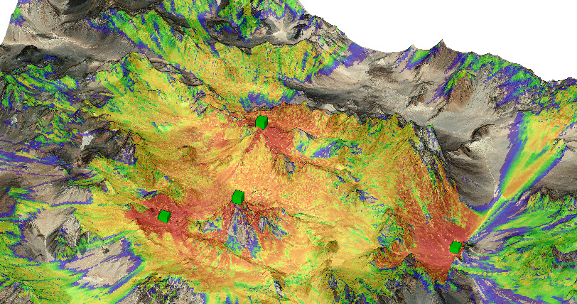 Coverage in rugged mountainous region over 12,000 km2 area using Vertical Plane Ray Model. (Terrain image provided by Harris Global 15 m.)