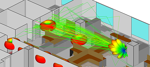 Wireless InSite's diffuse scattering model reveals how paths interact with a variety of surfaces and the impact on signal power.