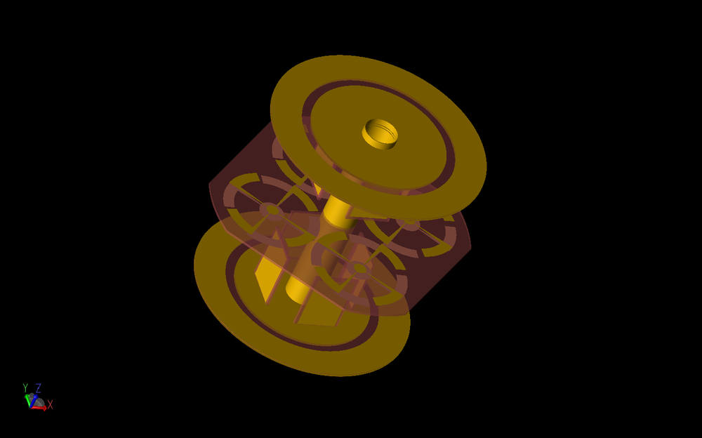 Figure 1: Shown is a three-dimensional CAD representation of the antenna array with electric monopole arrays above circular ground planes at the top and bottom of the device and a flat, four-element, magnetic dipole array at the center. The gold material represents copper while the red material is FR-4.