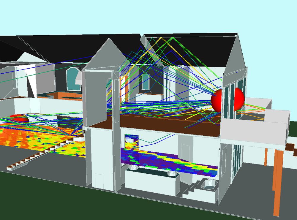 Wireless InSite simulation of WLAN in a house showing propagation paths and throughput.