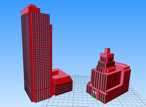 High resolution 3D building models with detailed facades and with material assignments for windows, window frames, and concrete.