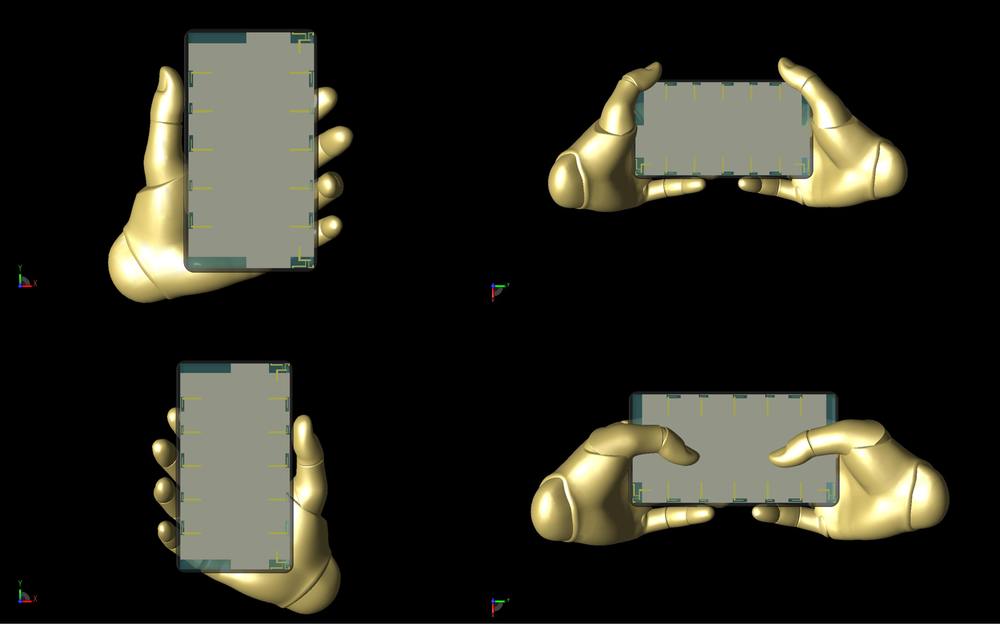 Figure 15: Shown are the four positions of the  Poseable Hand  model used in the study, which were positioned using controls within XFdtd. Clockwise from top left: left hand hold, two hands at sides, two hands typing, and right hand hold.