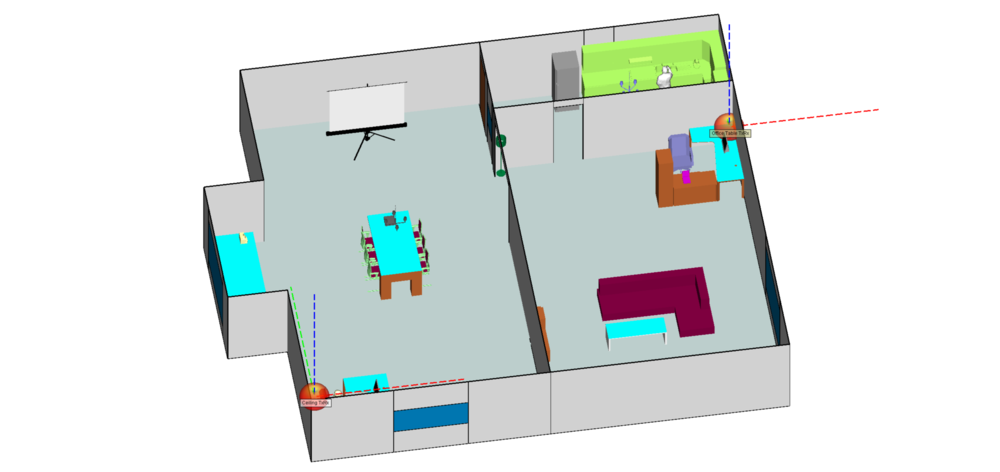 Figure 2: Custom apartment scene with transmitters placed on ceiling and entertainment center