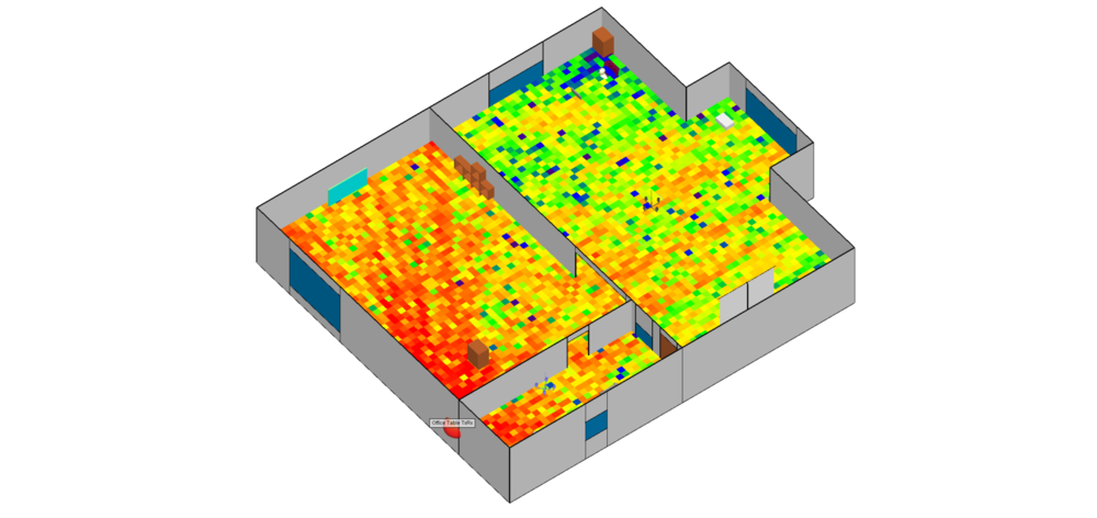 Figure 5a: Field map showing the coverage from the Ceiling Tx over an area of the apartment