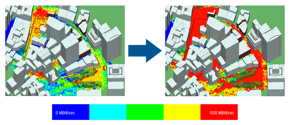 Side-by-side comparison showing throughput in downtown area using single antennas (left) vs. MIMO beamforming (right).