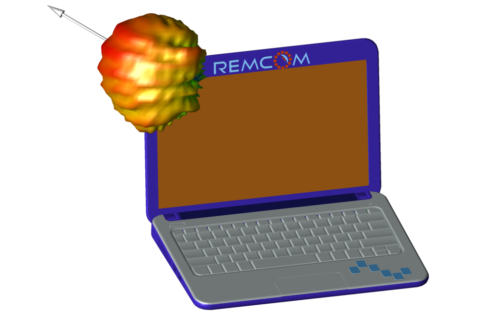 Laptop with a four element MIMO antenna
