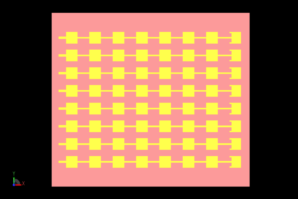 Figure 5: Shown is a CAD representation of the combination of eight of the 1x8 elements into an array. The elements are spaced 5.352 mm apart, center to center.