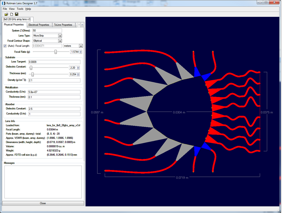 Figure 16: A Rotman Lens device suitable for use as the front end of the array is shown in Remcom's RLD software.