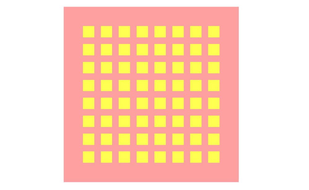 Figure 1: A top view of the antenna geometry showing the layout of the 8x8 array of patches.