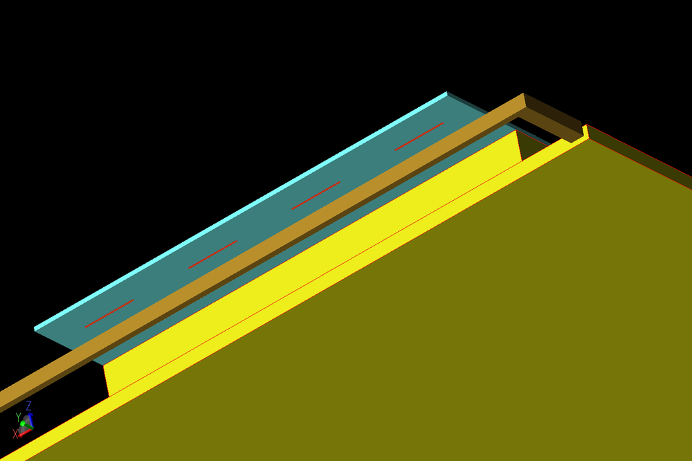 Figure 3: An underside view of the antenna array shows the separation of the 4G and 5G elements and the back side of the substrate.