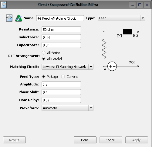 Figure 5: Shown is the voltage source menu in XFdtd for the port with the matching circuit that is used for the 4G antenna.