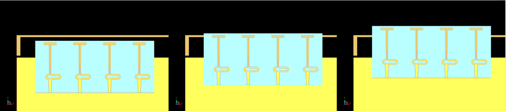 Figure 8: Three different configurations of the 5G array relative to the 4G antenna are considered (left to right): an offset of the top of the 5G antennas 2 mm below the 4G antenna, even alignment between the top of the 5G antennas and the 4G antenna, and an offset of the top of the 5G antennas of 2mm above the 4G antenna.