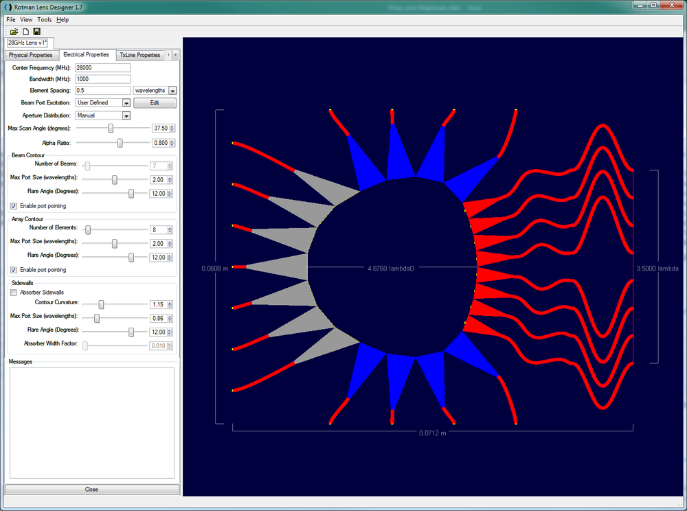 Figure 1: The initial Rotman lens design is shown in the RLD software. The seven beam ports are at the left and the eight array ports are at the right.