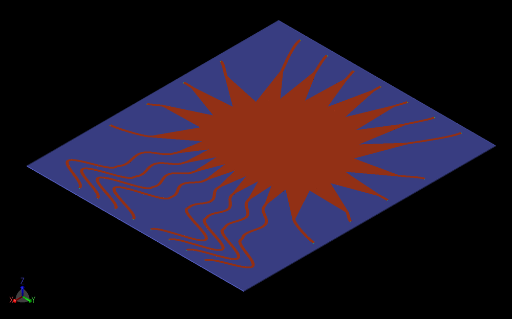 Figure 3: The Rotman lens design is shown in XFdtd following importation of a CAD file that was generated by the RLD software program. The lens is done in microstrip on a 0.254 mm substrate with permittivity of 2.94.