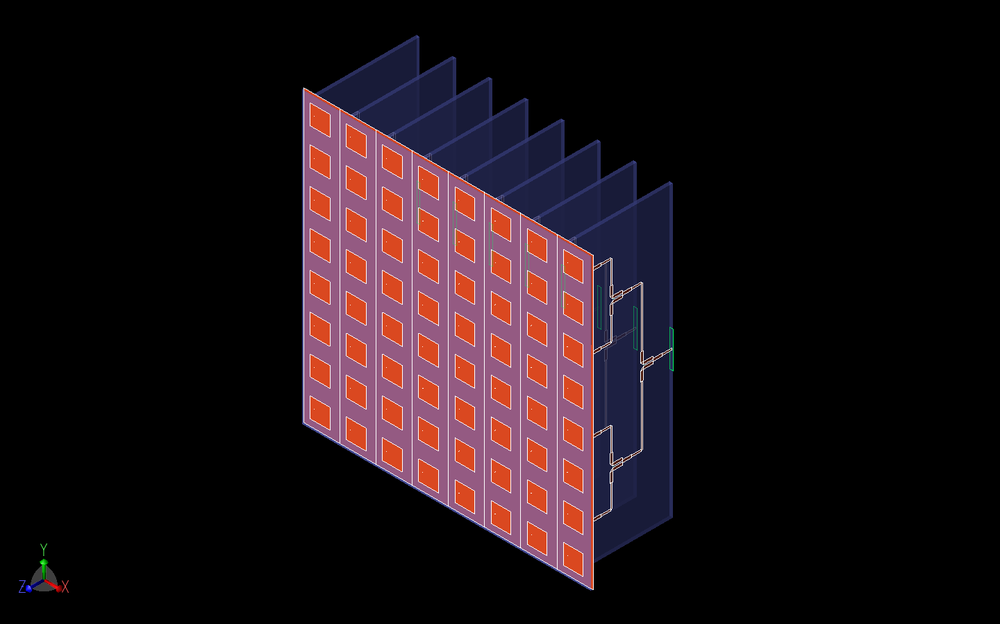 Figure 8: Shown in the figure is the three-dimensional CAD representation of the 8x8 patch antenna array and the eight Wilkinson power dividers that attach to the antennas. Here the Rotman lens has been replaced by eight input waveguide ports on the first stage of the Wilkinson power dividers.