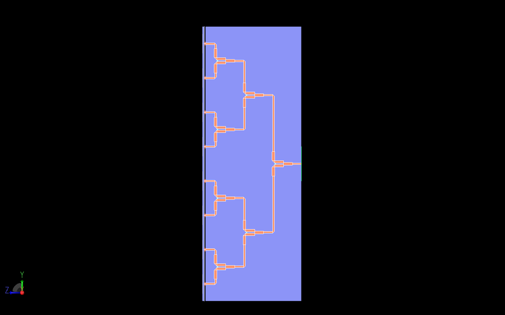 Figure 9: A side view of the Wilkinson power divider is shown which clearly displays the three stages of dividing the signal.