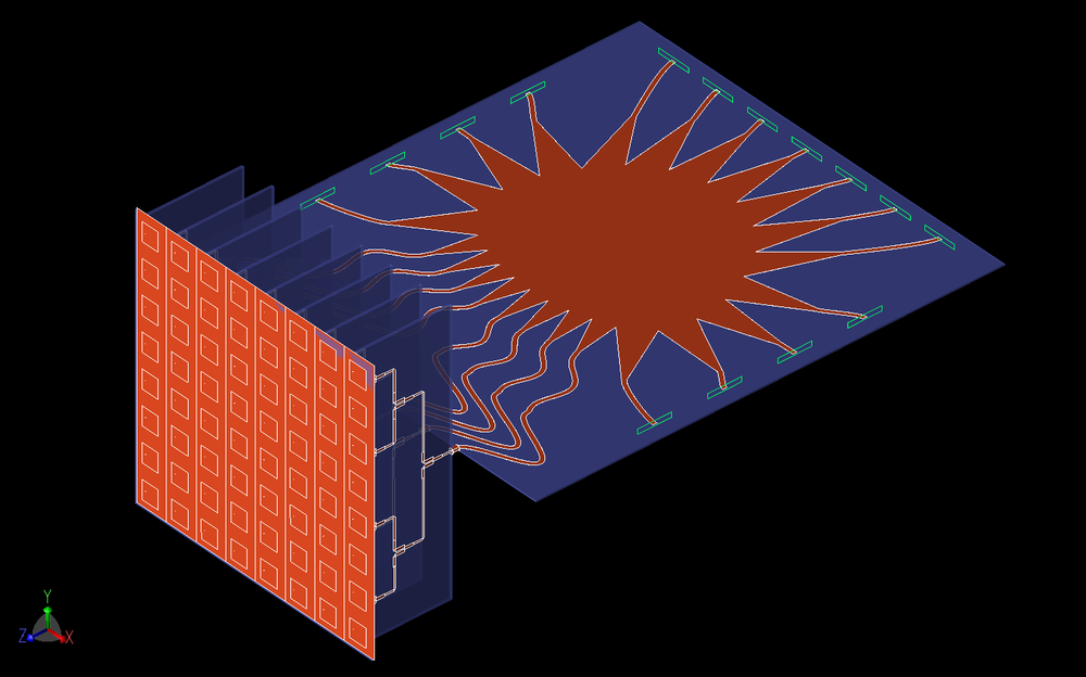Figure 14: Here the complete system of the Rotman lens input, Wilkinson power divider stage, and 8x8 patch antenna array are shown as a three-dimensional CAD model.