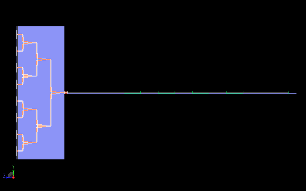 Figure 15: This is a side view of the entire system where the three stage Wilkinson power divider is more clearly visible.