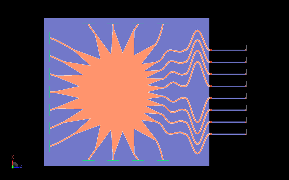 Figure 16: This is a top view of the entire system where the Rotman lens and array transmission lines are more clearly visible.