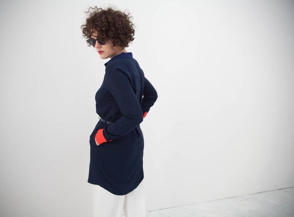 orange Bluse KIOMI, um 60 €, Hose H&M Trend, Schuhe Pierre Darre'