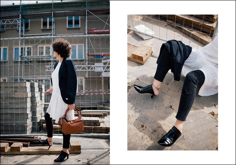 Kleid Étoile Isabel Marant, Jeans Paige Denim, Tasche Puzzle Bag Loewe, Blazer Isabel Marant, Mules Vetement
