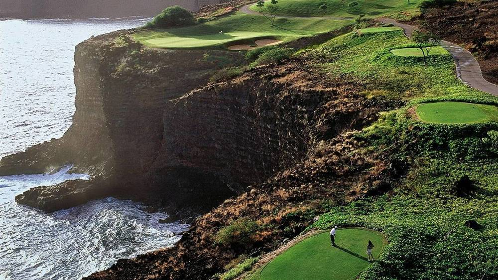 Watch your step while putting. It's a long way down on Lanai.