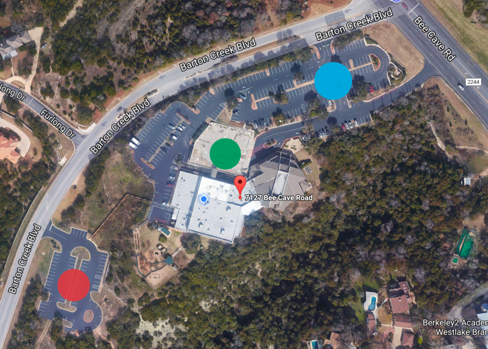 Blue: Main Parking Red: Downhill Lot Green: Special Lot
