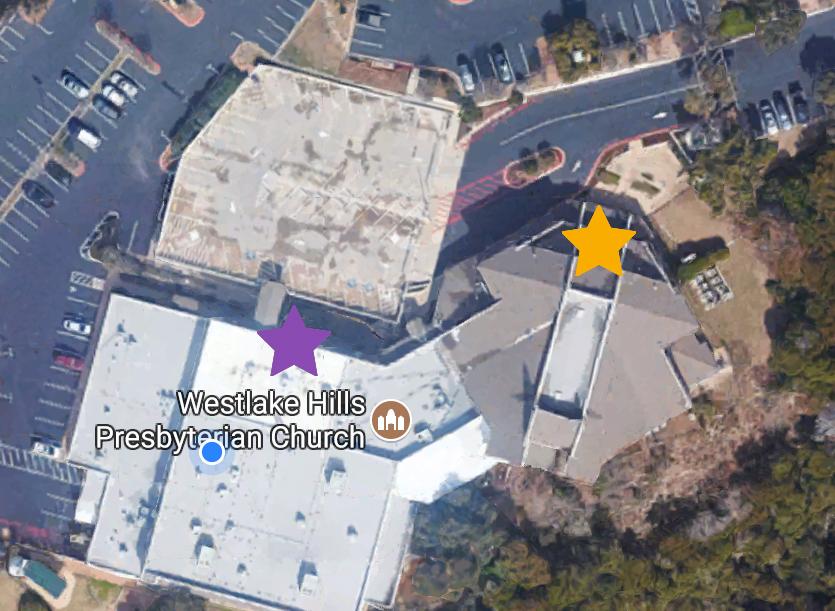 Purple: Children's Entrance Downstairs  Orange: Main Entrance, then walk downstairs to children's.