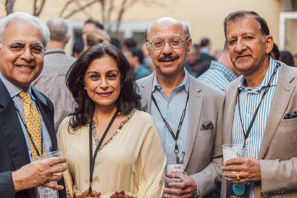 Left to right: Harsh Manglik, MSIA '76; Niti Wadwani; Sunil Wadwani, MSIA '76; Manoj Singh, MSIA '76, BBA