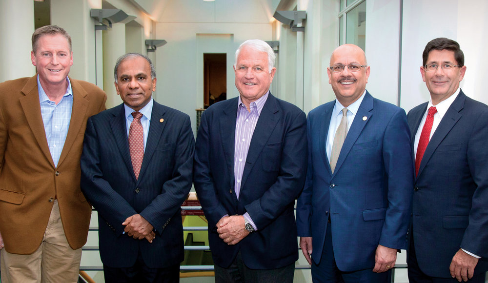 Pictured from left to right are David Mawhinney, MSIA '90, executive director of the Swartz Center, Carnegie Mellon President Subra Suresh, Jim Swartz, MSIA '66, Provost Farnam Jahanian and Dean Robert Dammon.