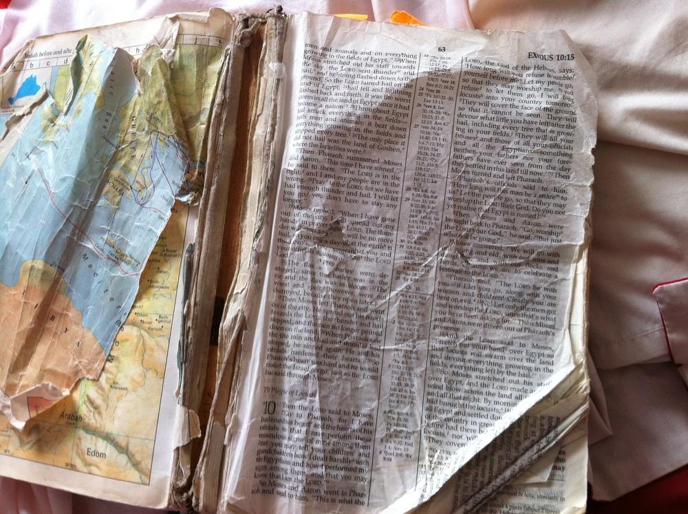 Melinda has kept this bible till today.