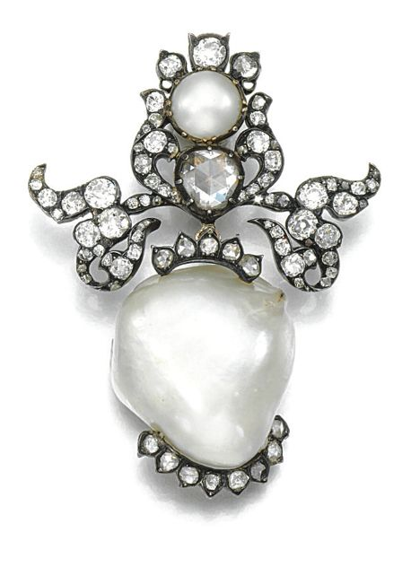 Pearl and Diamond Brooch, late 19th Century