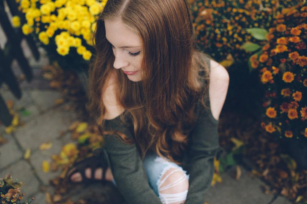 Fall senior photo taken near Madison, WI.