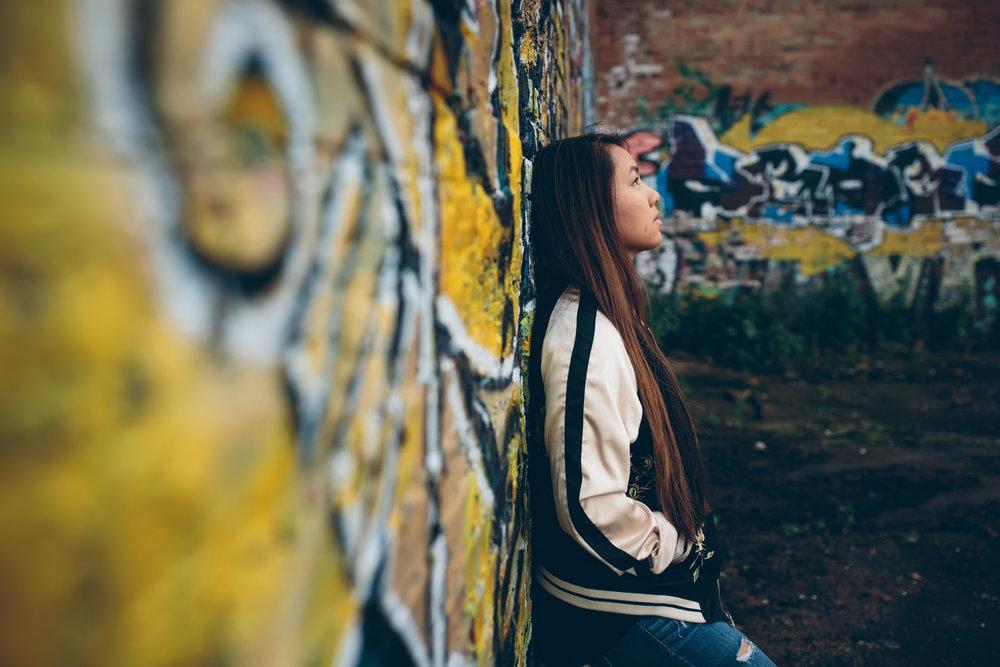 Grafitti senior picture Madison, Wi.